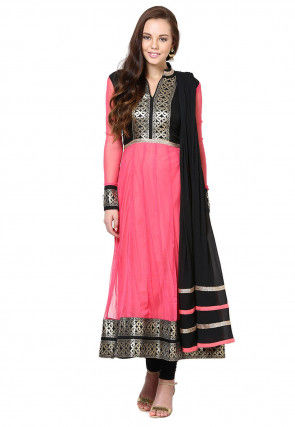 Embroidered Anarkali Suit in Pink