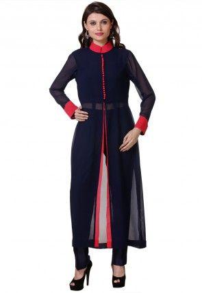 Plain Georgette Front Slit Pakistani Suit in Blue