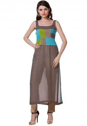 Straight Cut Georgette Suit in Brown