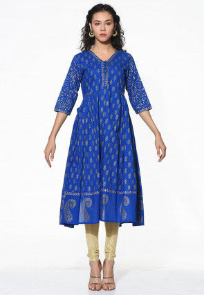Block Printed Cotton Anarkali Suit in Blue