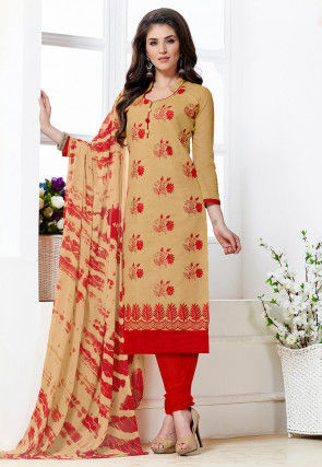 Embroidered Chanderi Silk Straight Suit in Beige