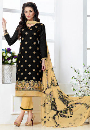 Embroidered Chanderi Silk Pakistani Suit in Black