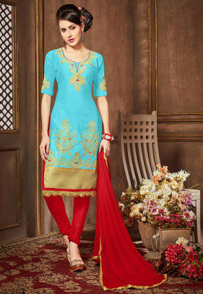 Embroidered Poly Cotton Straight Cut Suit in Sky Blue