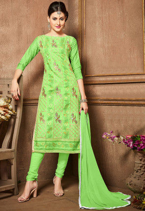 Embroidered Poly Cotton Straight Cut Suit in Light Green