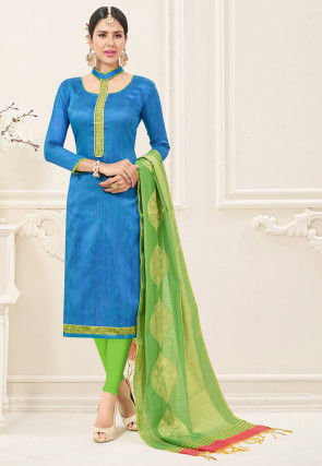 Art Silk Straight Suit with Woven Dupatta in Teal Blue