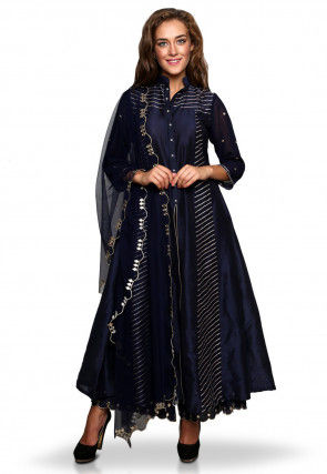 Embroidered Cotton Silk Front Slit Anarkali Suit in Navy Blue