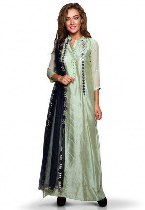 Embroidered Cotton Silk Abaya Style Suit in Pastel Green