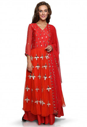 Embroidered Net Anarkali Suit in Orange and Red