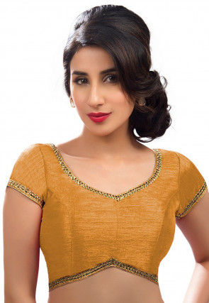 Lace Border Art Silk Blouse in Mustard