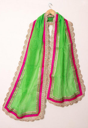 Lace Border Chanderi Cotton Dupatta in Light Green