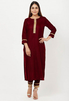 Lace Border Velvet Kurta with Pant in Maroon