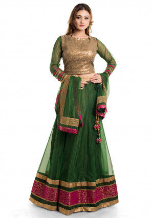 Patch border Net Lehenga Green