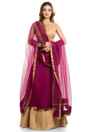 Patch Border Net Lehenga in Magenta