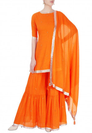 Plain Cotton Sharara Lehenga in Orange