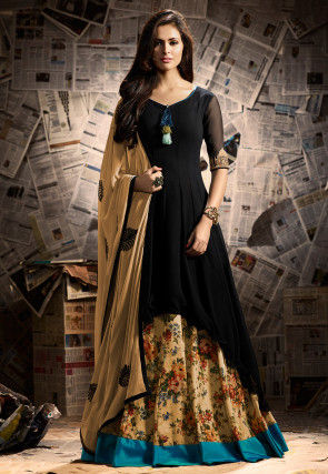 Printed Georgette Lehenga in Black