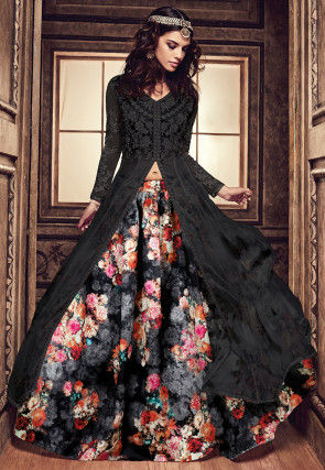 Digital Printed Art Silk Jacket Style Lehenga in Black and Grey