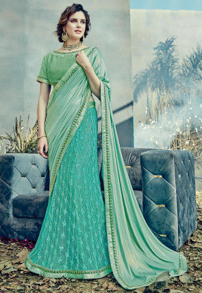Lehenga Style Lycra Shimmer Saree in Sea Green and Turquoise