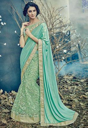 Lehenga Style Lycra Shimmer Saree in Sea Green