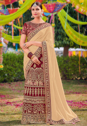 Lehenga Style Satin Saree in Light Beige and Maroon