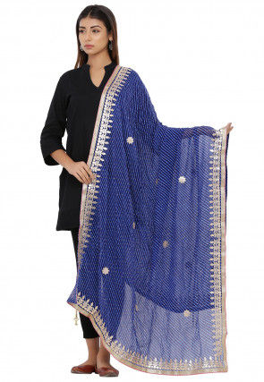 Leheriya Georgette Dupatta in Blue