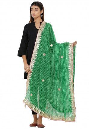 Leheriya Chiffon Dupatta in Green