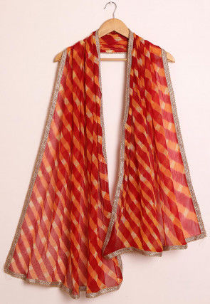 Leheriya Chiffon Dupatta in Maroon and Orange
