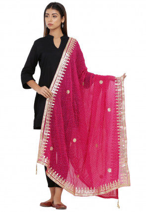 Leheriya Chiffon Dupatta in Pink