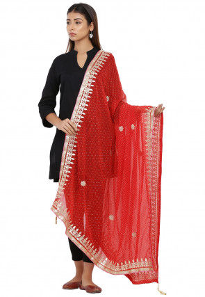 Leheriya Chiffon Dupatta in Red