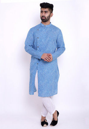 Leheriya Cotton Front Open Kurta in Blue