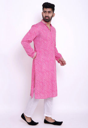 Leheriya Cotton Kurta Set in Pink