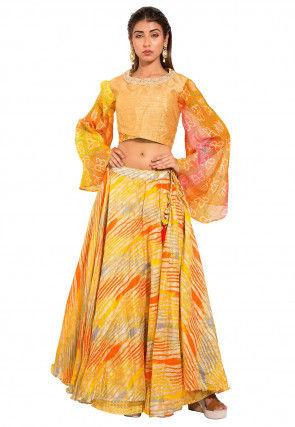 Leheriya Dupion Silk Crop Top Set in Golden and Multicolor