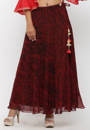 Leheriya Georgette Long Skirt in Black and Red