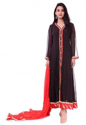 Leheriya Georgette Abaya Style Suit in Black