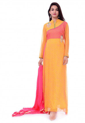 Leheriya Georgette Abaya Style Suit in Yellow and Pink