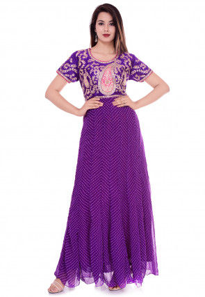Leheriya Georgette Anarkali Kurta in Purple