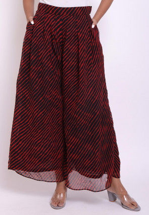 Leheriya Georgette Box Pleated Palazzo in Red and Black