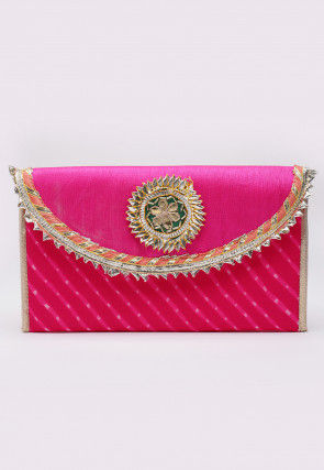 Leheriya Georgette Envelope Clutch Bag in Fuchsia