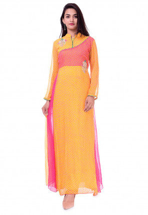 Leheriya Georgette Flared Kurta in Yellow and Pink