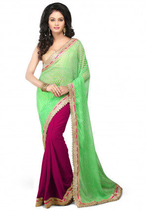 Leheriya Georgette Half N Half Saree in Green and Magenta