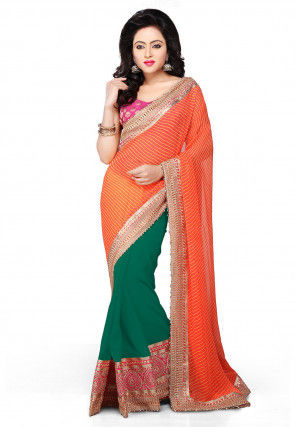 Leheriya Georgette Half N Half Saree in Orange and Teal Green