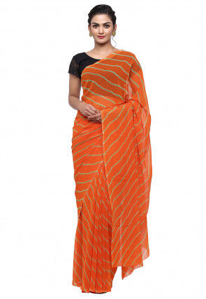 Leheriya Georgette Saree in Orange