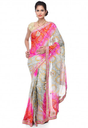 Leheriya Pure Chinon Crepe Saree in Multicolor