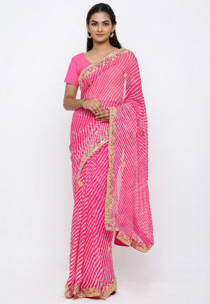 Leheriya Georgette Saree in Pink
