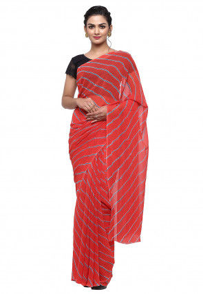 Leheriya Georgette Saree in Red