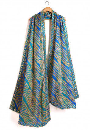 Leheriya Kota Silk Dupatta in Blue and Beige