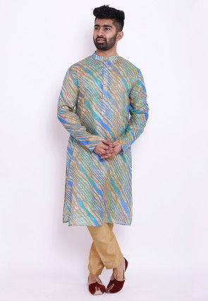 Leheriya Kota Silk Kurta in Beige and Blue