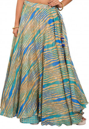 Leheriya Kota Silk Layered Skirt in Beige and Blue