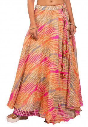 Leheriya Kota Silk Layered Skirt in Multicolor