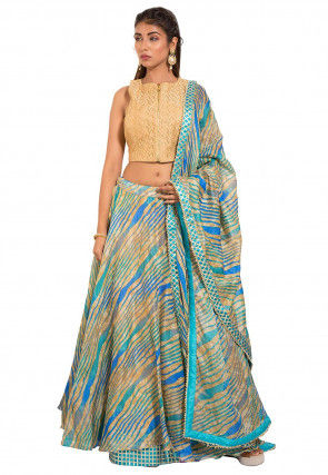 Leheriya Kota Silk Lehenga in Beige and Blue