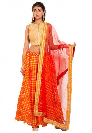 Leheriya Kota Silk Lehenga in Orange